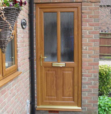 Woodgrain entrance door