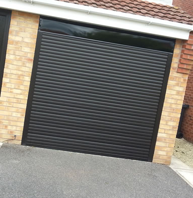 A black garage door