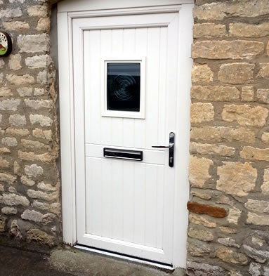 White composite door with glass