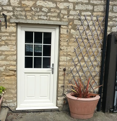 White composite door with georgian bars