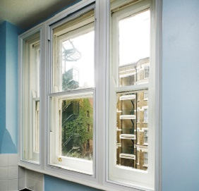 White uPVC window with secondary glazing